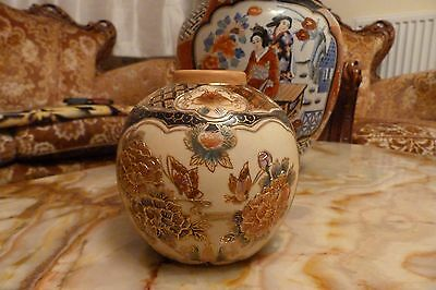 Chinese Drilled Ginger Vase Flowers Butterflies