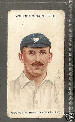 WILLS - Cricketers (Small s) - 1908 - No.16 - Hirst - Yorkshire.
