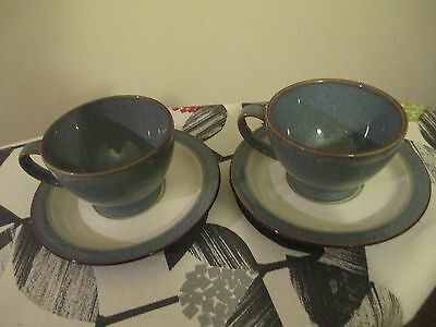 Beautiful Denby Storm 2 Grey Cups And Saucers, Hardly Used, Vgc