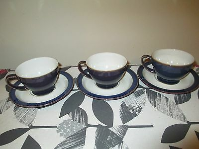 Beautiful Denby Storm 3 Dk Purple Cups And Saucers, Hardly Used, Vgc