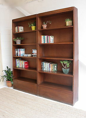 Slim Mid Century library bookcase | Vintage tall sloping bookcase