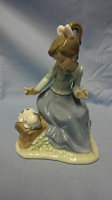Attractive Lladro Spain Nao Figure - Young Girl With Puppy A/F