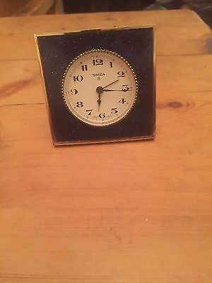 Vintage Beautiful Enamelled Alarm Clock By Swiza