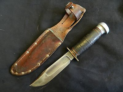 WWII CAMILLUS CUTERY. CO. N.Y Pilots Survival Fighting Knife Leather Scabbard
