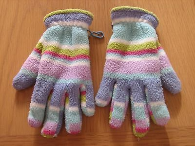 Peter Storm Girl's Blue Stripey Fleece Winter Gloves Age 3 - 6 Years