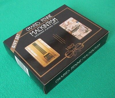 """A double pack of Charles Rennie Mackintosh """"designer"""" playing cards """"Gift Set"""""""