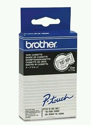 1x ORIGINAL BROTHER TC-101 P-touch 12mm Ink ribbon BLACK/CLEAR for PT-6/8/10/500