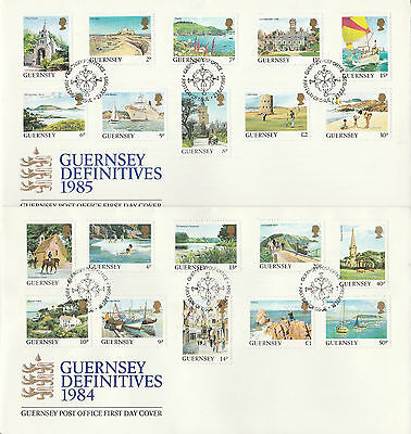 GUERNSEY 1984-85 Definitives 1p - £2 fine used on 2  FDCs