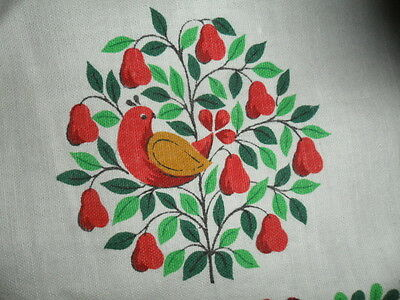 Vintage Christmas Tablecloth/ Cover-Partridge In Pear Tree--Bird- -Red /green