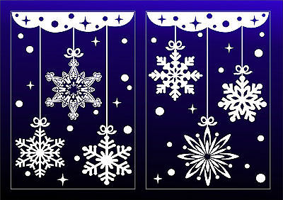 Christmas Stickers for Window  Decoration Snowflakes Stars Reusable Hanging Art