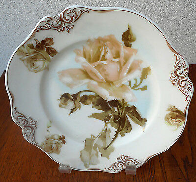 Silesia Germany Antique By Ohme Porcelain Old Ivory Rose Motif Painted Plate