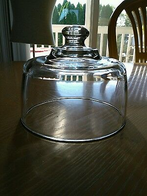 VINTAGE CLEAR CRYSTAL GLASS ROUND DOME Food/Butter/Cheese Cloche