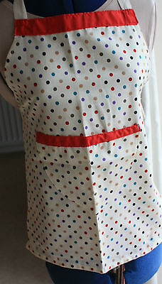 New Child's Apron age 5 to 8 years body of Apron length 22 inches cream spotted