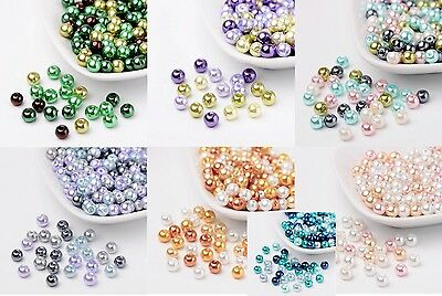 200 pcs Pearlized Glass Pearl Beads Jewellery Making 6mm  7 Colours New Stock