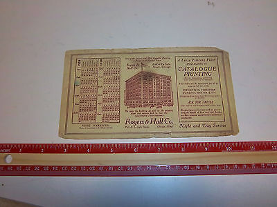 Ink Blotter 1918 Calender Rogers & Hall Catalogue Printing Chicago, IL Catalog