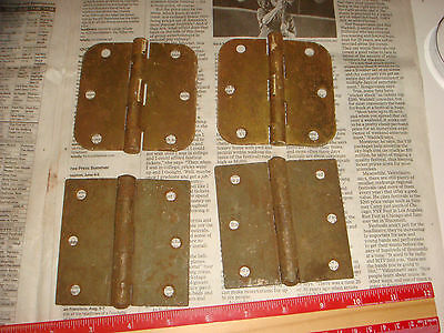 "4 Vintage Brass Plated Button Hinges 3 & 1/2"" , 2 pairs, Very Nice Old Hardware"
