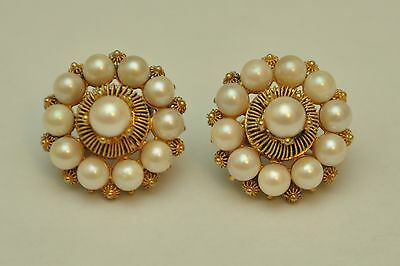 Antique 14k Yellow Gold Pearl Cluster Screw-on Earrings