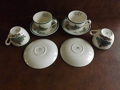 Four Spode Christmas Tree Cups And Saucers