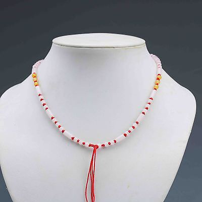 Chinese Natural Jade Handwork Beads Necklace G848