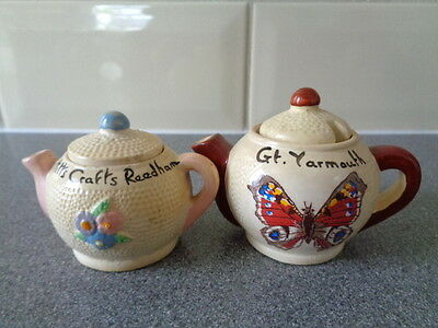 2 Vintage Manor Ware Miniature Teapots. Gt Yarmouth & Pettitts Crafts Reedham