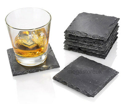 """Set of 8 piece,10x10cm 4x4"""" Natural Slate Square Table Coaster Wine Glassess"""