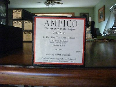 Jerome Kern Medley The Way You Look Tonight + 1 More Ampico Re-Cut Piano Roll