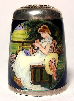 Hand-Painted Peter Swingler Enamel Over Sterling Thimble - THE SEAMSTRESS  c1985