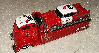 fire engines transporter with fire chief chevrolet bel air maisto