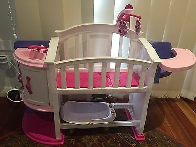 Toy baby Cot With High Chair, Cupboard, Sink. Baby Bath Included As New