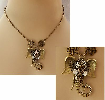 Gold Elephant Pendant Necklace Handmade NEW Accessories Fashion Chain Adjustable