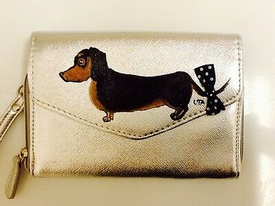 ������Dachshund Dog Hand Painted Wallet Clutch Handbag Purse artbyuta