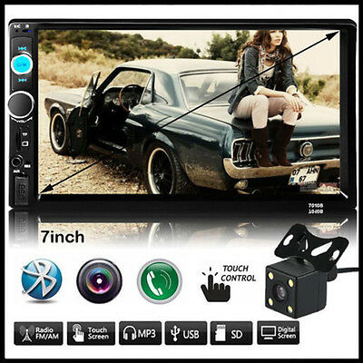 "7"" Double 2 DIN In Car FM Stereo Radio MP5 Player Touch Screen Bluetooth +Camera"