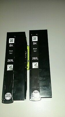 2x epson 26xl original black ink cartridges