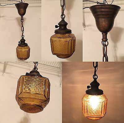 "20"" Long Vintage Antique Pendant Light Yost Socket Carmel Color Glass Globe"