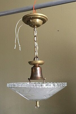 "Antique Pendant Light 12"" Wide Frosted Etched Shade Glass Finial Great Patina"