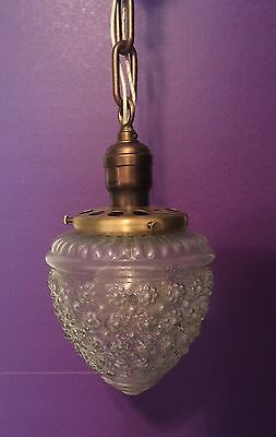 Vintage Pendant Light Antique Globe Glass Fixture Hubbell Socket Great!!