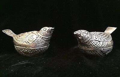 Vintage Miniature Pair Hand Hammered Silver Bird Shape Novelty Boxes