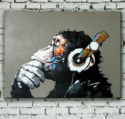 Hand-painted wall art gorilla with headphone modern abstract music oil painting
