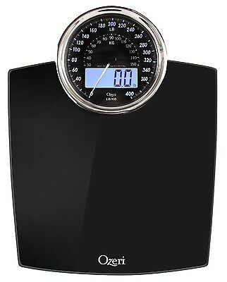 Ozeri Rev Digital Bathroom Scale with Electro-Mechanical Weight Dial Black