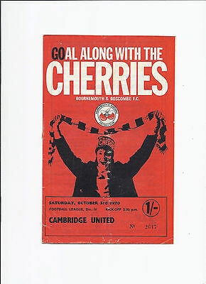 Bournemouth v Cambridge United ( First Season in League ) 3 October 1970