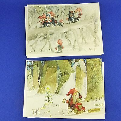 2 Unused Trygve Davidsen Christmas Cards Elf Tomte Nisse Scandinavian