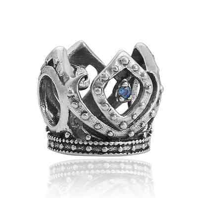 NEW Crown Ring Silver Charm Beads Fit sterling Bracelet Pendant Necklace FF338