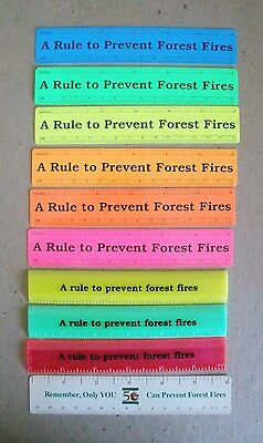10 Smokey Bear Plastic Rulers--All Different--6 Inch