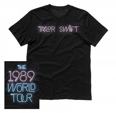 taylor swift  xxl unisex t-shirt the 1989 world tour neon script tour