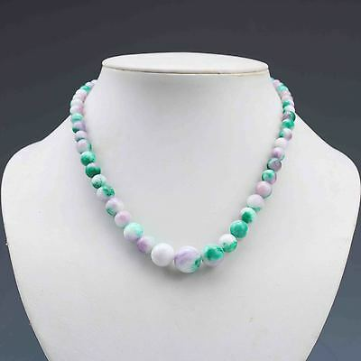 Chinese Natural Jade Handwork Beads Necklace G846