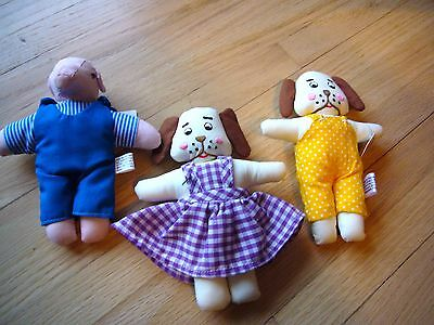 Set 3 Dayton-Hudson 2 dogs Pig Dressed Small Plush Rare Fields w tags