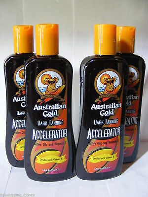 Lot Of 4 Australian Gold Accelerator Indoor Tanning Lotion + Free Goggles