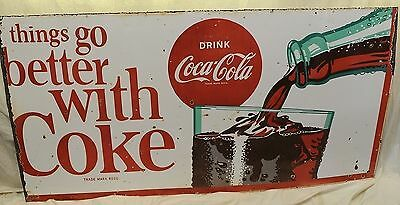 """Vintage 1965 Coke Sign """"Things go better with Coke: Drink Coca-Cola"""" 167x85cm"""