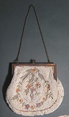 Vintage Micro Mini White Beaded Victorian Purse Pastel Floral Embroidery