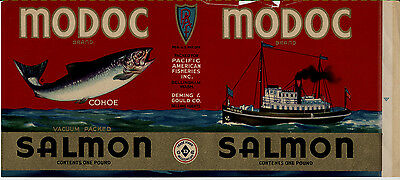 MODOC Salmon Can Label - 1930s Pacific American Fisheries - Genuine, damaged